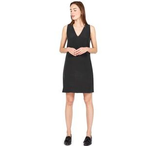Everlane Black Double-Lined 100% Silk V-Neck Dress